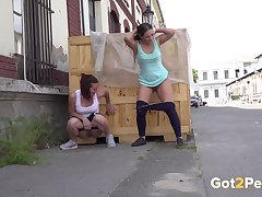 Dispirited slut Amanda Hill and her friend adore peeing in public places