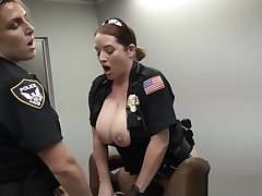 Femdom police officers pounding thug in trio