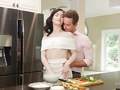 Beautiful and passionate sex far romantic brunette babe Evelyn Claire