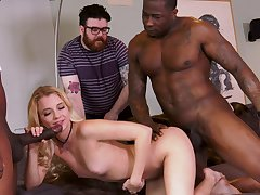 Extreme cuckold with Riley Star with an increment of two black hunks