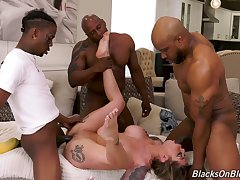 Hot Karma Rx gets masturbating to some interracial porn by black dudes