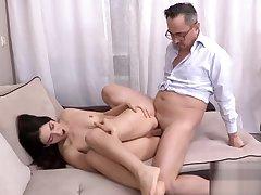 Cute establishing girl is teased and drilled by her elder teacher