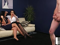 UK voyeurs instructing sub from make an issue of couch