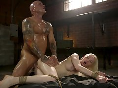 Muscular baffle fucks petite blonde in deep hardcore scenes