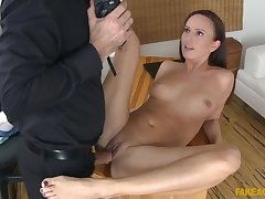 Tina Knockout gets her mouth filled with a penis after a throbbing day