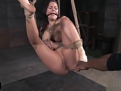 Struggling the man be agreeable to gets tied up and caned
