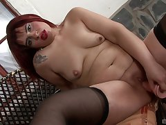 Ugly mature redhead needs her big fake cock to delight her needs