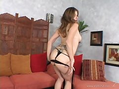 Tattooed brunette with tongue piercing toys the brush pussy forwards mating