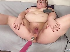 Big and bulky BBWs enjoy riding going to bed machines in their chubby pussies