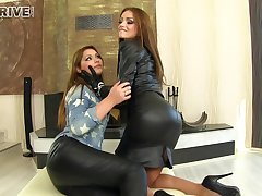 Kinky leather fetish threesome with seductive Sophie Lynx coupled with Lana