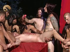 Gay males uses hot wax on guy's nuisance and penis by way of gay orgy