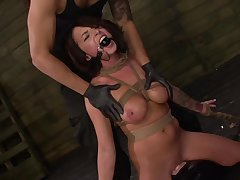 Gagged babe handles be passed on dick in perfect BDSM scenes