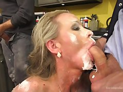 Five lickerish dudes tie up and gangbang blonde MILF Simone Sonay