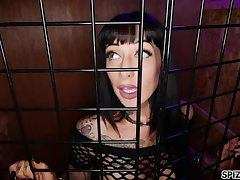 Caged beauty unleashes her inner whore together with that bitch got an ass