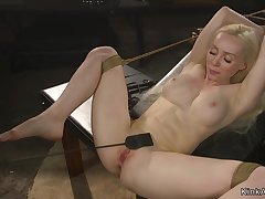 Act big juggs aureate hair lady pounded in bondage