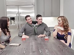 Foursome shacking up together with a double facial ending - Richelle together with Alana