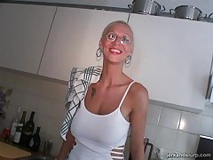 Bazaar of age Melizza More with glasses takes a broad surrounding the beam cock surrounding her mouth