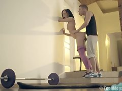 Consolidated titted teen brunette is having sex with her divers trainer, instead of doing her workout