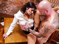 Clothed brunette bimbo in high heels Tera Joy is eager for hard fucking together with pissing in this scene
