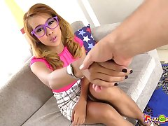 Slim Thai chick in purple glasses plus with queasy pussy Bowl loves giving BJ