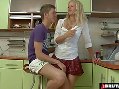 Desirable girlfriend Hailey undressed added to irritant fucked in the kitchen