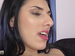 Krystal gets pussy fucked by old dong and swallows cum