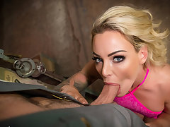 VR BANGERS Blonde housewife needs hanging fire with car