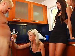 Fortuitous guy gets his little dick blown by Ariel Lee and her friends