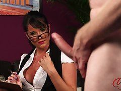 Dialectic clothed parcel out Raven Lee watches an amateur guy masturbate