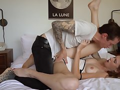 Sweet redhead feels amazing with so much dick invading her cunt