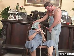 Disgusting fat granny gives a blowjob and rimjob to one kinky man