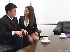 Amateur secretary drops on her knees here be fucked by her boss