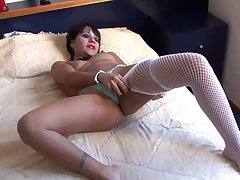 Cock hungry Latina slut gets her frowardness and pussy poked with toys