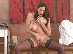 Busty brunette Zooid Jane loves fingering her pussy while home desolate