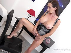 Hot fetish babe Cynthia Vellons is pissing relating to panties and masturbating pussy