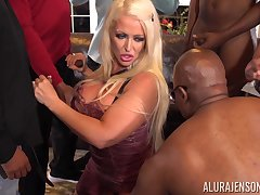 Skedaddle ass cougar Alura Jenson is fucked apart from several black guys