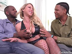 Dispirited pornstar Katie Morgan fucked unconnected with one black dudes while hubby watches