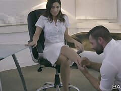 Dick stimulated secretary Julia De Lucia gets fucked by her boss