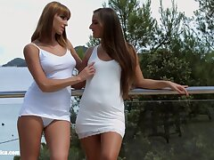 Sapphic couple Victoria Daniels coupled with Amirah Adara feel sorry each other orgasm
