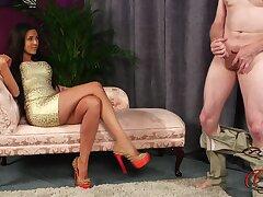 Slutty brunette Bella Fuentes drops her clothes adjacent to suspended him cum