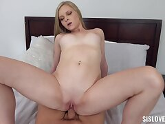 Blonde babe Harlow West loves sucking with an increment of riding a cock wide POV