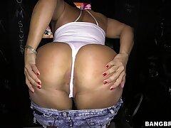 Big butt Latina Becca Diamond sucks and rides a gloryhole horseshit