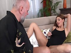 Babe Sucks Old Man Before Oral And Fucking
