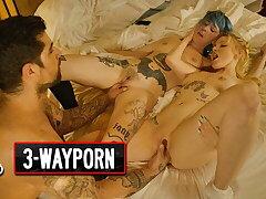 3Way Porn - Blue Hair Girl & Say no to Blonde Boyfriend Take a Co