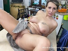 Chubby mature drops on her knees all round give head and gets fucked