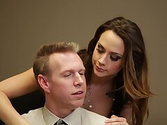 Deluxe secretary Chanel Preston gives a blowjob and gets fucked