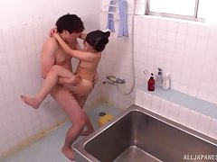 Japanese threesome in dramatize expunge bathroom with Kamiya Mitsuki