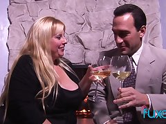 Classy off colour BBW Cassie Blanca has sexual intercourse elbow fireplace after a glass of wine
