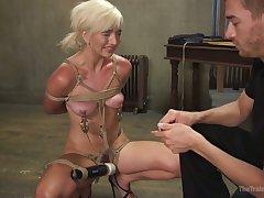 Real horny bondage slut Eliza Jane has to blow distinct cock dry