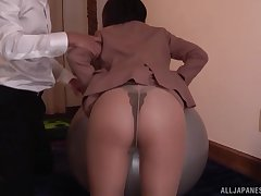 Kawai Asuna sits on a friend's fat and hard cock with her tiny cunt